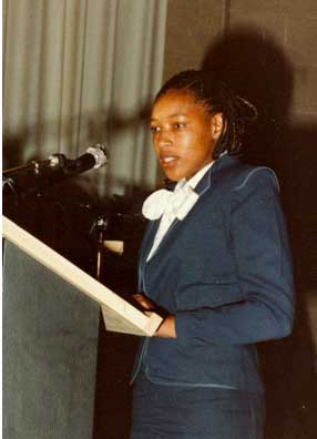 Zenani Mandela during alocution in the romm called
